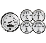 "Autometer Gauge Kit, 5 pc., 3 3/8"" & 2 1/16"", Elec. Speedometer, Old Tyme White II 1200"