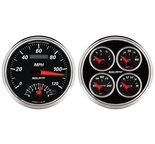 """Autometer Gauge Kit, 2 pc., Quad & Tach/Speedo, 5"""", Designer Black II 1204"""