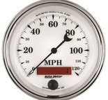 """Autometer Gauge, Speedometer, 3 3/8"""", 120mph, Elec. Prog. w/ LCD Odo, Old Tyme Wht II 1287"""