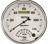 "Autometer Gauge, Tach/Speedo, 5"", 120mph & 8k RPM, Elec. Program, Old Tyme White II 1290"