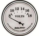"""Autometer Gauge, Voltmeter, 2 1/16"""", 18V, Elec, Old Tyme White II 1292"""