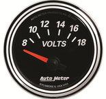 """Autometer Gauge, Voltmeter, 2 1/16"""", 18V, Elec, Designer Black II 1293"""