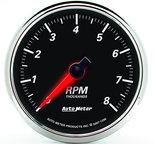"Autometer Gauge, Tachometer, 3 3/8"", 8k RPM, In-Dash, Designer Black II 1296"