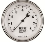 "Autometer Gauge, Tachometer, 3 3/8"", 8k RPM, In-Dash, Old Tyme White II 1297"