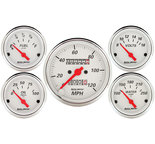 "Autometer Gauge Kit, 5 pc., 3 1/8"" & 2 1/16"", Mech. Speedometer, Arctic White 1300"