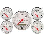 "Autometer Gauge Kit, 5 pc., 3 1/8"" & 2 1/16"", Elec. Speedometer, Arctic White 1302"