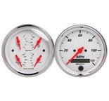"""Autometer Gauge Kit, 2 pc., Quad & Speedometer, 3 3/8"""", Arctic White 1308"""
