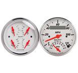 """Autometer Gauge Kit, 2 pc., Quad & Tach/Speedo, 3 3/8"""", Arctic White 1309"""