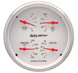 "Autometer Gauge, Quad, 5"", 240?E-33?F, Elec, Arctic White 1310"