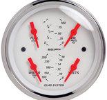 "Autometer Gauge, Quad, 3 3/8"", 240?E-33?F, Elec, Arctic White 1312"