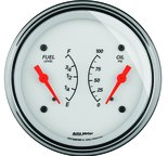 "Autometer Gauge, Dual, Fuel & OILP, 3 3/8"", 240?E-33?F & 100psi, Elec, Arctic White 1313"
