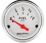 "Autometer Gauge, Fuel Level, 2 1/16"", 0?E to 90?F, Elec, Arctic White 1315"