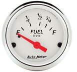"Autometer Gauge, Fuel Level, 2 1/16"", 73?E to 10?F, Elec, Arctic White 1316"