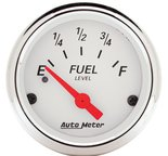 "Autometer Gauge, Fuel Level, 2 1/16"", 240?E to 33?F, Elec, Arctic White 1317"
