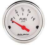 "Autometer Gauge, Fuel Level, 2 1/16"", 0?E to 30?F, Elec, Arctic White 1318"