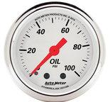 """Autometer Gauge, Oil Press, 2 1/16"""", 100psi, Mech, Arctic White 1321"""