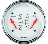 "Autometer Gauge, Dual, WTMP & VOLT, 3 3/8"", 250şF & 18V, Elec, Arctic White 1330"