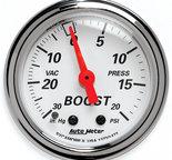 "Autometer Gauge, Vac/Boost, 2 1/16"", 30inHg-20psi, Mechanical, Arctic White 1372"