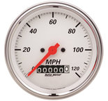 "Autometer Gauge, Speedometer, 3 3/8"", 120mph, Elec. Prog. w/ Wheel Odo, Arctic White 1379"