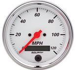 "Autometer Gauge, Speedometer, 3 3/8"", 120mph, Elec. Prog. w/ LCD Odo, Arctic White 1380"
