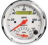 "Autometer Gauge, Tach/Speedo, 3 3/8"", 120mph & 8k RPM, Elec. Program., Arctic White 1381"