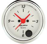 "Autometer Gauge, Clock, 2 1/16"", 12Hr, Analog, Arctic White 1385"