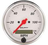 "Autometer Gauge, Speedometer, 3 1/8"", 120mph, Elec. Prog. w/ LCD Odo, Arctic White 1388"