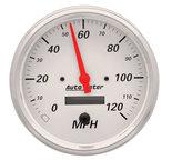 "Autometer Gauge, Speedometer, 5"", 120mph, Elec. Prog. w/ LCD Odo, Arctic White 1389"