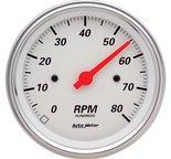 "Autometer Gauge, Tachometer, 3 3/8"", 8k RPM, In-Dash, Arctic White 1390"
