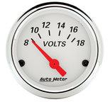 """Autometer Gauge, Voltmeter, 2 1/16"""", 18V, Elec, Arctic White 1391"""