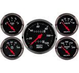 "Autometer Gauge Kit, 5 pc., 3 1/8"" & 2 1/16"", Mech. Speedometer, Blk Bzl, Designer Black 1400"