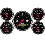 "Autometer Gauge Kit, 5 pc., 3 1/8"" & 2 1/16"", Elec. Speedometer, Blk Bzl, Designer Black 1402"