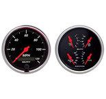 """Autometer Gauge Kit, 2 pc., Quad & Speedometer, 3 3/8"""", Designer Black 1408"""