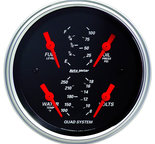"Autometer Gauge, Quad, 3 3/8"", 240?E-33?F, Elec, Designer Black 1412"