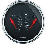 """Autometer Gauge, Dual, Fuel & OILP, 3 3/8"""", 240?E-33?F & 100psi, Elec, Designer Black 1413"""