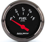 "Autometer Gauge, Fuel Level, 2 1/16"", 0?E to 90?F, Elec, Black Bzl, Designer Black 1415"