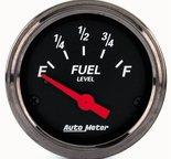 "Autometer Gauge, Fuel Level, 2 1/16"", 0?E to 30?F, Elec, Black Bzl, Designer Black 1418"