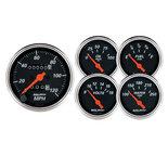 "Autometer Gauge Kit, 5 pc., 3 1/8"" & 2 1/16"", Mech. Speedometer, Designer Black 1420"
