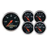 "Autometer Gauge Kit, 5 pc., 3 1/8"" & 2 1/16"", Elec. Speedometer, Designer Black 1421"
