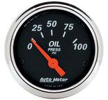 """Autometer Gauge, Oil Press, 2 1/16"""", 100psi, Elec, Designer Black 1426"""