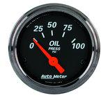 """Autometer Gauge, Oil Press, 2 1/16"""", 100psi, Elec, Black Bzl, Designer Black 1427"""
