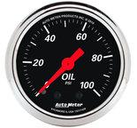 """Autometer Gauge, Oil Press, 2 1/16"""", 100psi, Mech, Designer Black 1429"""