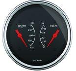 """Autometer Gauge, Dual, WTMP & VOLT, 3 3/8"""", 250şF & 18V, Elec, Designer Black 1430"""
