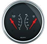 """Autometer Gauge, Dual, Fuel & OILP, 3 3/8"""", 0?E-90?F & 100psi, Elec, Designer Black 1434"""