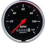 "Autometer Gauge, Speedometer, 3 3/8"", 120mph, Elec. Prog. w/ Wheel Odo, Designer Black 1479"