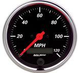 "Autometer Gauge, Speedometer, 3 3/8"", 120mph, Elec. Prog. w/ LCD Odo, Designer Black 1480"