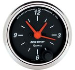 """Autometer Gauge, Clock, 2 1/16"""", 12Hr, Analog, Designer Black 1484"""