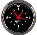 """Autometer Gauge, Clock, 2 1/16"""", 12Hr, Analog, Black Bzl, Designer Black 1485"""