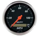"Autometer Gauge, Speedo., 3 1/8"", 120mph, Elec. Prog. w/ LCD Odo, Designer Blk 1487"