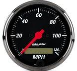"Autometer Gauge, Speedo., 3 1/8"", 120mph, Elec. Prog. w/ LCD Odo, Blk Bzl, Designer Blk 1488"